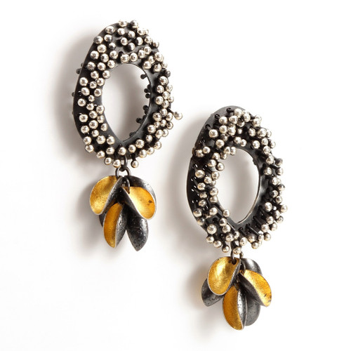 Modern EO214 Earrings from jewelry artist So Young Park | Oxidized Sterling Silver and 24 Karat Gold Leaf