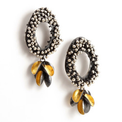 Modern EO214 Earrings from jewelry artist So Young Park   Oxidized Sterling Silver and 24 Karat Gold Leaf