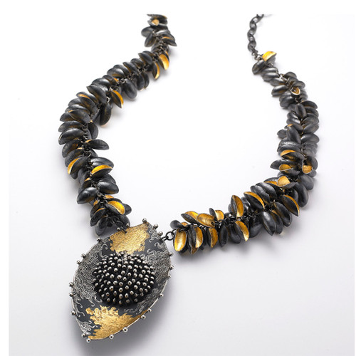 Modern Oriental Hill Necklace from So Young Park | Oxidized Sterling Silver and 24 Karat Gold Leaf