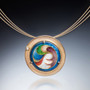 Circle of Gold Necklace by Sheila Beatty | 24 Karat Gold Cloisonne and Guilloche Enamel | Fine Silver | Rose Cut Diamond