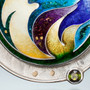 Arcadian Necklace by Sheila Beatty | Cloisonne Enamel | Gold and Silver | Green Tourmaline