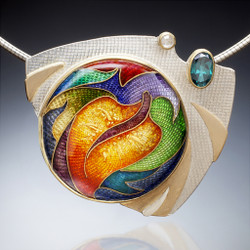 Indian Summer Necklace by Sheila Beatty   24k Gold cloisonne and guilloche enamel   Fine Silver and Palladium Sterling Silver   18k and 22k Gold  Topaz and Rose Cut Diamond   Stainless Steel Omega Neck Wire