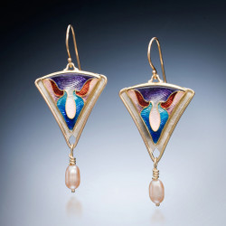 Grace Earrings by Sheila Beatty | 24 Karat Gold Cloisonne and Guilloche Enamel | Fine Silver and Palladium Sterling Silver | Freshwater Pearls
