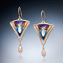 Grace Earrings by Sheila Beatty   24 Karat Gold Cloisonne and Guilloche Enamel   Fine Silver and Palladium Sterling Silver   Freshwater Pearls