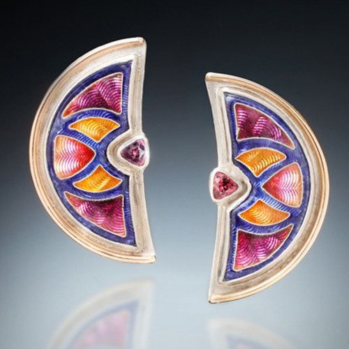 Radiance Earrings by Sheila Beatty | Fine Silver Cloisonne and Guilloche Enamel | Palladium Sterling Silver and 14 Karat Yellow Gold | Rhodolite Garnets