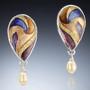 Princess Earrings by Sheila Beatty   Fine Silver Cloisonne Enamel   Sterling Silver and 14 Karat Yellow Gold   Fresh Water Pearls