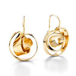 Mobius Earrings, Modern Art Jewelry , Gold Plated Brass by Mia Hebib