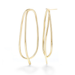 Oblik Earrings, Gold Plated Brass by Mia Hebib