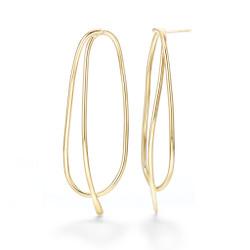 Gold Plated Brass Oblik Earrings | Modern Art Jewelry by Mia Hebib