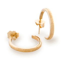 Eclipse Hoop Earrings, Texture 14K Yellow Gold by Anit Dodhia