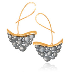 Barefoot Dancing Earrings, 18K Yellow Gold, Oxidized Sterling Silver with Diamond accents by Aleksandra Vali