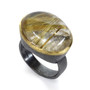 Rutilated Quartz Cabochon Ring by Liaung-Chung Yen | 22 Karat Yellow Gold and Oxidized Sterling Silver