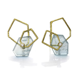 Aquamarine Geometric Frame Earrings from Liaung-Chung Yen | 18 Karat Yellow Gold | Aquamarine