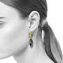 Tourmilated Quartz Earrings on Model from Liaung-Chung Yen |  18 Karat Yellow Gold | Tourmilated Quartz