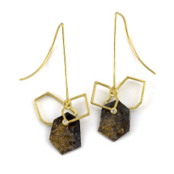 Geometric frame dangle earrings by Liaung-Chung Yen | 18  |Karat yellow gold | Handmade contemporary jewelry,