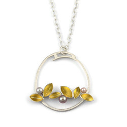 Horizon Leaves Pendant by Liaung-Chung Yen | Sterling silver with 22 Karat gold leaves | Multi-color pearls