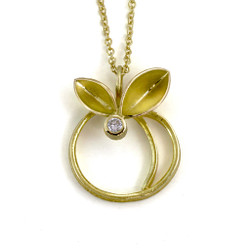 Twirling Leaves Pendant by Liaung-Chung Yen | 18 Karat yellow gold with diamond accents