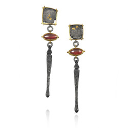 Talentum Framed Garnet Drop Earrings, 22K gold and sterling silver with garnet by Michael Jensen Designs