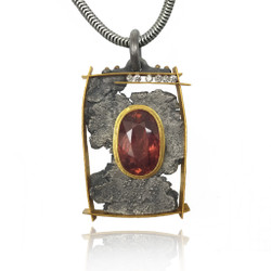 Talentum framed pendant with tourmaline and diamonds, 22k gold and sterling silver by Michael Jensen Designs