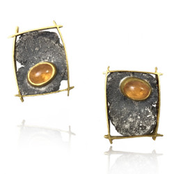 Talentum framed spessartine garnet stud earrings, 22k gold and sterling silver by Michael Jensen Designs