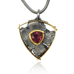 Talentum Framed Shield Pendant, 22k gold, Sterling Silver with Pink Tourmaline by Michael Jensen Designs