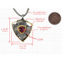 Talentum Framed Shield Pendant, 22k gold, Sterling Silver with Pink Tourmaline by Michael Jensen Designs