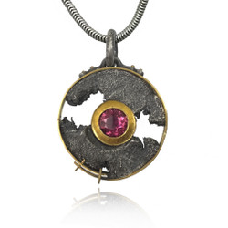 Talentum Framed Maru Pendant, 22K gold and Sterling Silver with Natural Pink Tourmaline by Michael Jensen Designs