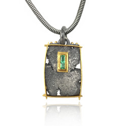 Talentum Framed Emerald Pendant, 22K gold and Sterling Silver by Michael Jensen Designs