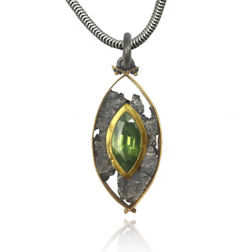 Talentum Framed Pointed Pendant, 22K Gold and Sterling Silver with Natural Green Sapphire by Michael Jensen Designs