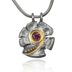 Talentum Maru Spiral Pendant, 22K Gold and Sterling Silver with Pink Tourmaline by Michael Jensen Designs