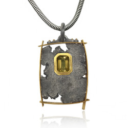 Talentum Framed Rectangular Pendant, 22K Gold and Sterling Silver with Golden Tourmaline by Michael Jensen Designs