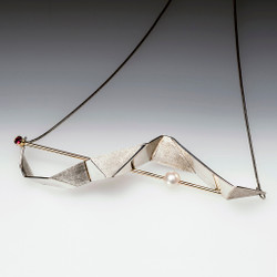 Contemporary Pleated Bar Necklace from Maressa Tosto Merwarth | Recycled Sterling Silver and Yellow Gold Wire | Red Sapphire and Akoya Pearl