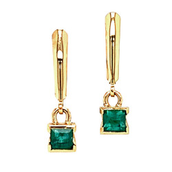 Gold Sea Grass Emerald Drop Earrings, Handmade Modern Jewelry by Alexis Barbeau