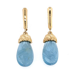 Gold Sea Grass Aquamarine Drop Earrings, Handmade Modern Jewelry by Alexis Barbeau