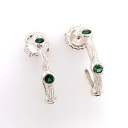 Silver Sea Grass Green Tourmaline Hoop Earrings, Handmade Modern Jewelry by Alexis Barbeau