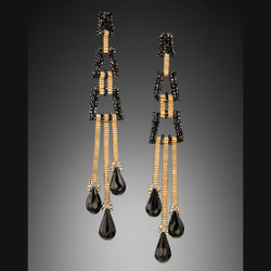 Long Deco Earrings - Hand-woven 14K Yellow Gold and Spinel with Onyx by Beth Faber