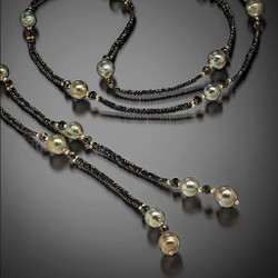 Tahitian Pearl Lariat - 14K Yellow Gold, Hand-Woven Black Spinel and Tahitian Pearls by Beth Faber