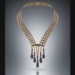 Wedding Necklace - Hand-Woven 14K Yellow Gold and Black Spinel with Black Onyx Drops by Beth Faber