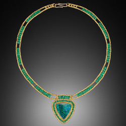 Opal and Emerald Choker - Hand-Woven 18K Yellow Gold and Emerald with Opal by Beth Faber