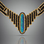 Drama Opal Collar - Hand-Woven 18K Yellow Gold and Black Spinel Beads with Opal by Beth Faber