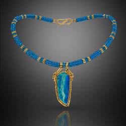 Seascape Choker - Hand-Woven 18K Yellow Gold and Blue Topaz  Beads with Opal by Beth Faber