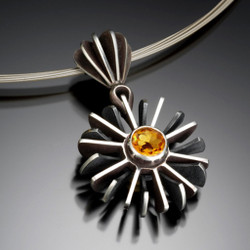 Oxidized Silver Pangolin Pendant with Citrine, Handmade Contemporary Jewelry by Samantha Freeman