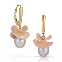 Petal Earrings by Samantha Freeman |Gold Vermeil with Enamel and Pearl | Handmade Modern Jewelry