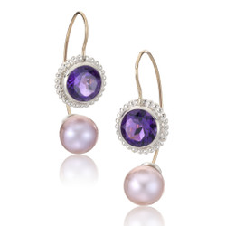 Jemloch Day Earrings handmade by Samantha Freeman | Amethyst and Pink Pearl | Modern Art Jewelry