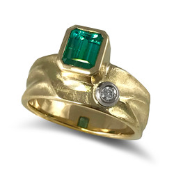 Geo Ring by Keiko Mita | Bi-Color Green Tourmaline, 18K Yellow Gold | Handmade Fine Jewelry