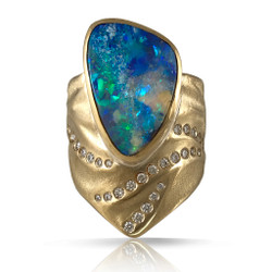 Blue Sea Opal Ring by Keiko Mita | Boulder Opal, diamonds, 18K Gold | Handmade Fine Jewelry