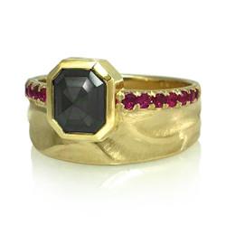 Noire Scarletta Ring by Keiko Mita | Black Diamond, Ruby, 14K Gold | Handmade Fine Jewelry