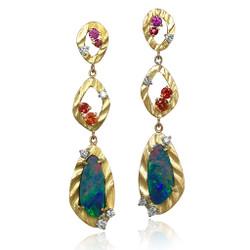 Vivian Earrings by Keiko Mita   Opal, Multi Color Sapphire, 18K Gold   Handmade Fine Jewelry