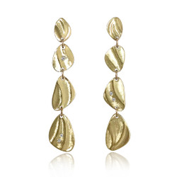 Pebble Dangle Earrings by Keiko Mita | 14K Gold and Diamonds | Handmade Fine Jewelry