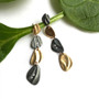 Two Tone Pebble Dangle Earrings by Keiko Mita | 14K Gold, Oxidized Silver | Handmade Fine Jewelry
